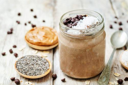 ленивая каша в банке - шоколад и арахисовое масло