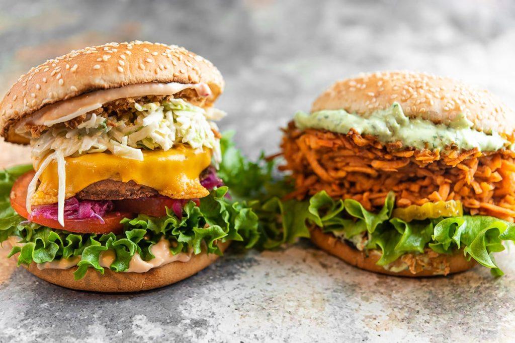 веганский бургер  и вегетарианский бургер очень калорийные